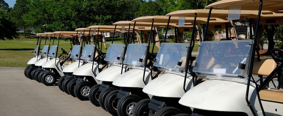 Golf Cart lining up in Arizona | Breast Cancer Car Donations