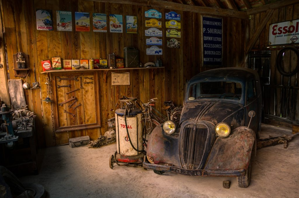Old Vehicle Sitting Inside the Garage | Breast Cancer Car Donations