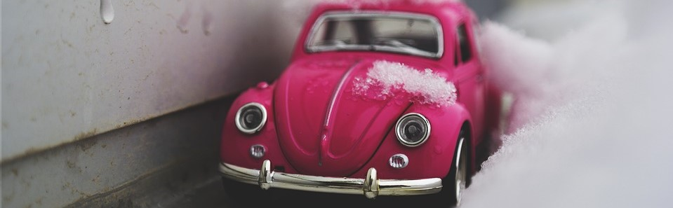 Pink Toy Car on a Snow | Breast Cancer Car Donations