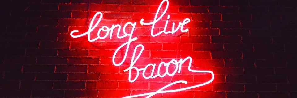 Long Live Bacon Signage in a Diner | Breast Cancer Car Donations