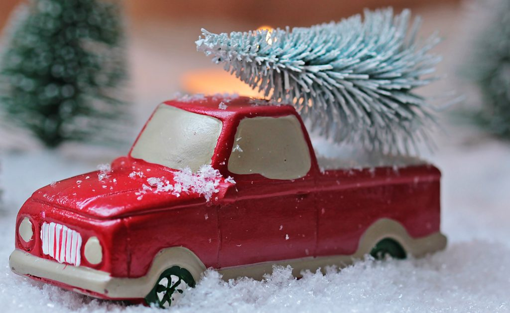 Fir Tree on a Car Holiday Decoration | Breast Cancer Car Donations