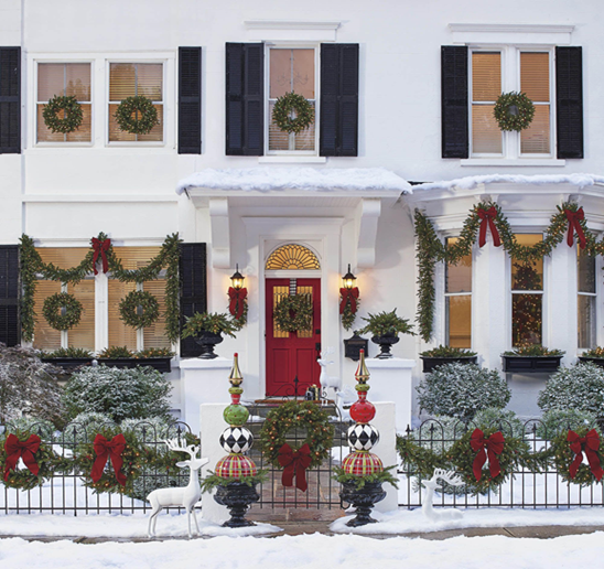 Pretty Porch Outdoor Holiday Decoration | Breast Cancer Car Donations