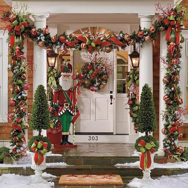 Welcoming Entryway Outdoor Holiday Decorations | Breast Cancer Car Donations