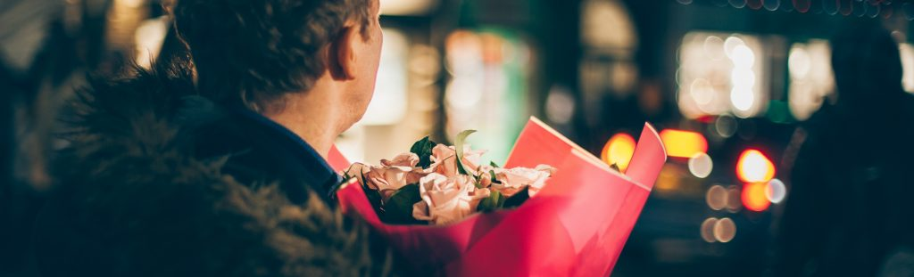 Guy with Bouquet of Roses | Breast Cancer Car Donations