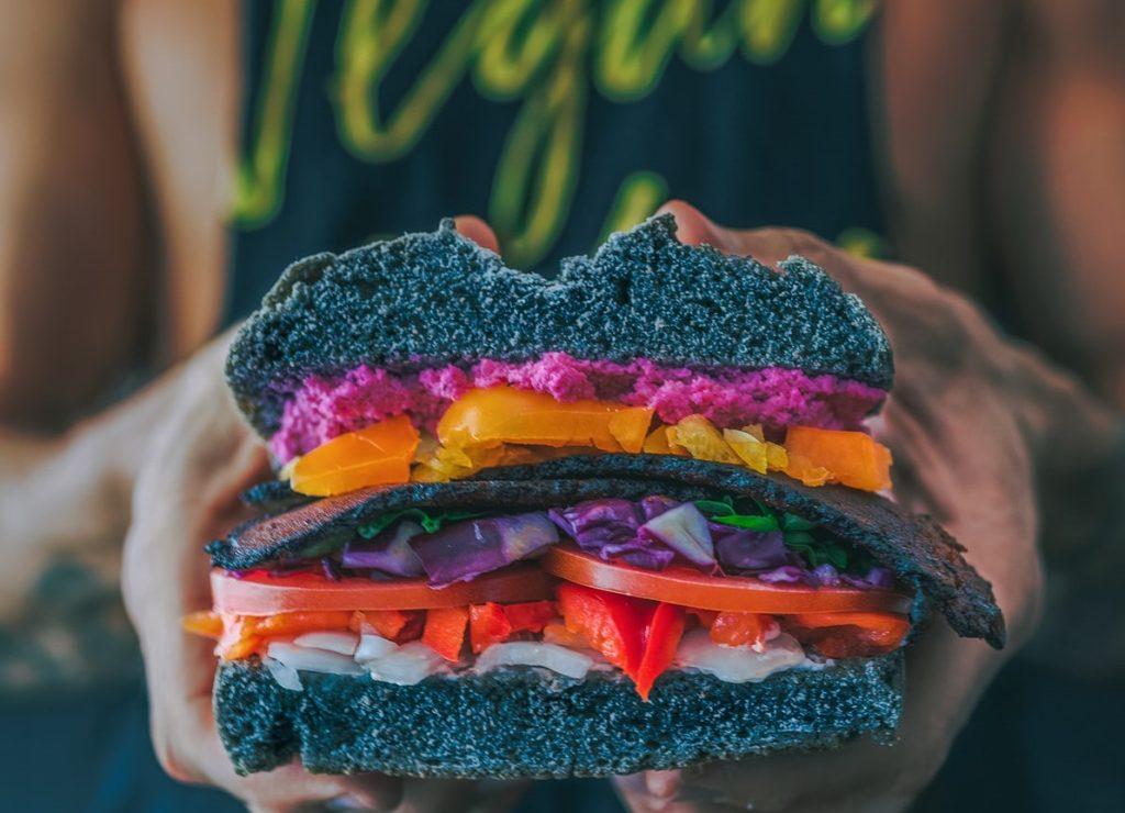 Vegan Burger in Half | Breast Cancer Car Donations