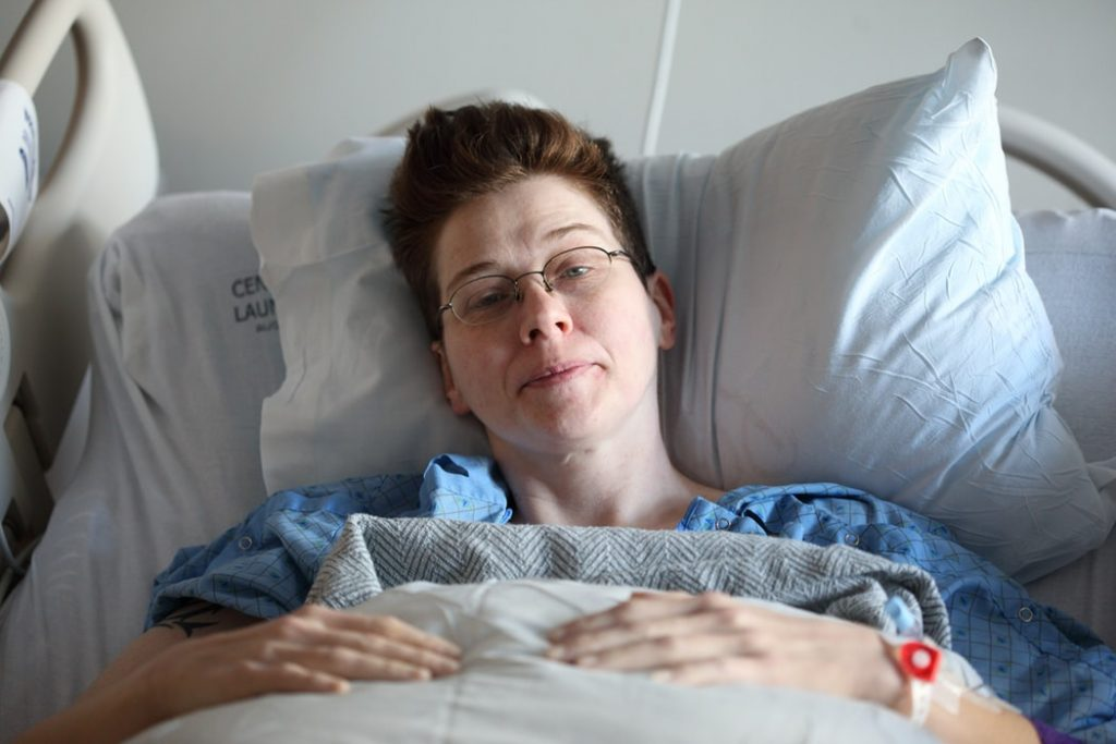 Woman on a Hospital Bed | Breast Cancer Car Donations