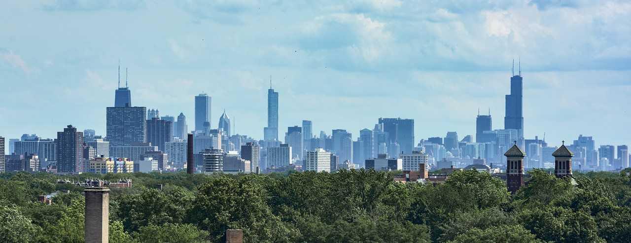 Evanston, Illinois City Skyline   Breast Cancer Car Donations