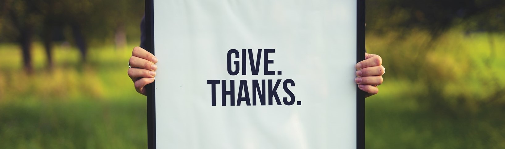 Person Holding Give Thanks Poster | Breast Cancer Car Donations