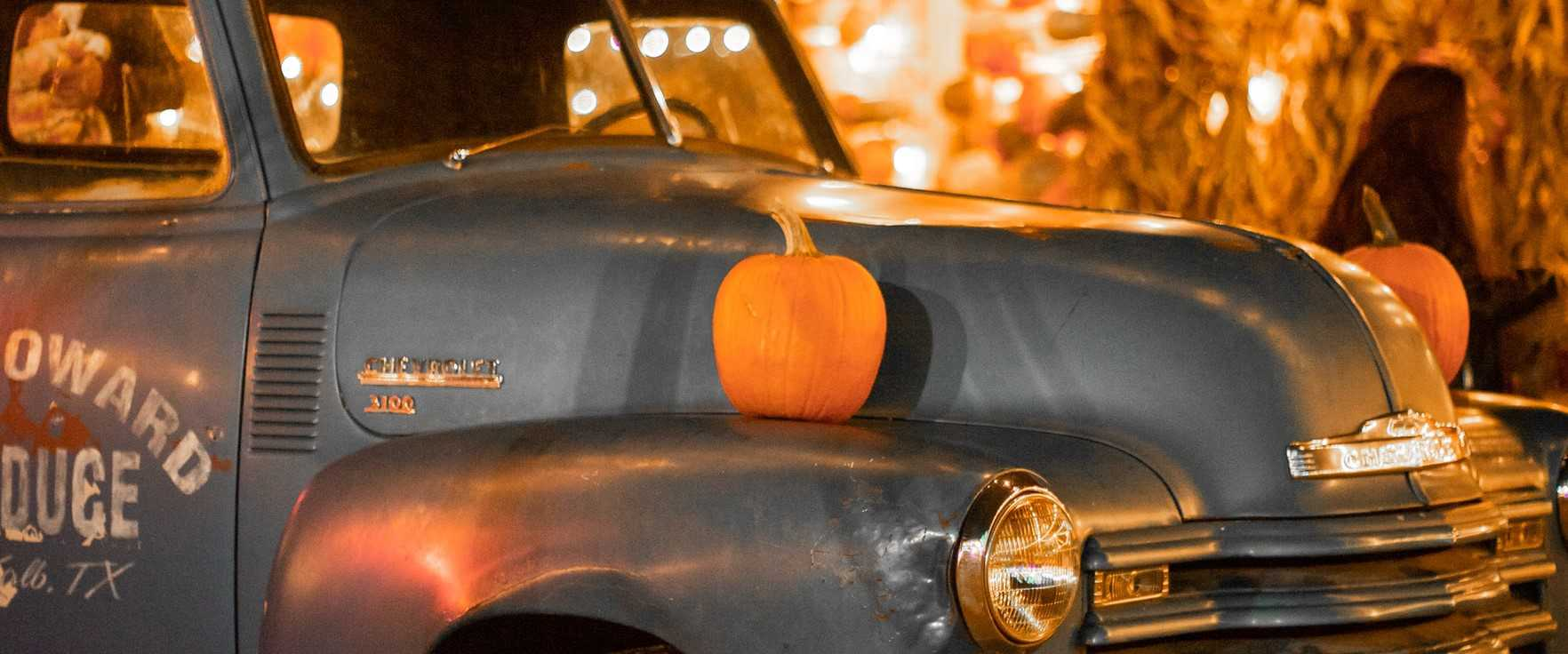 Old Car with Halloween Decoration | Breast Cancer Car Donations