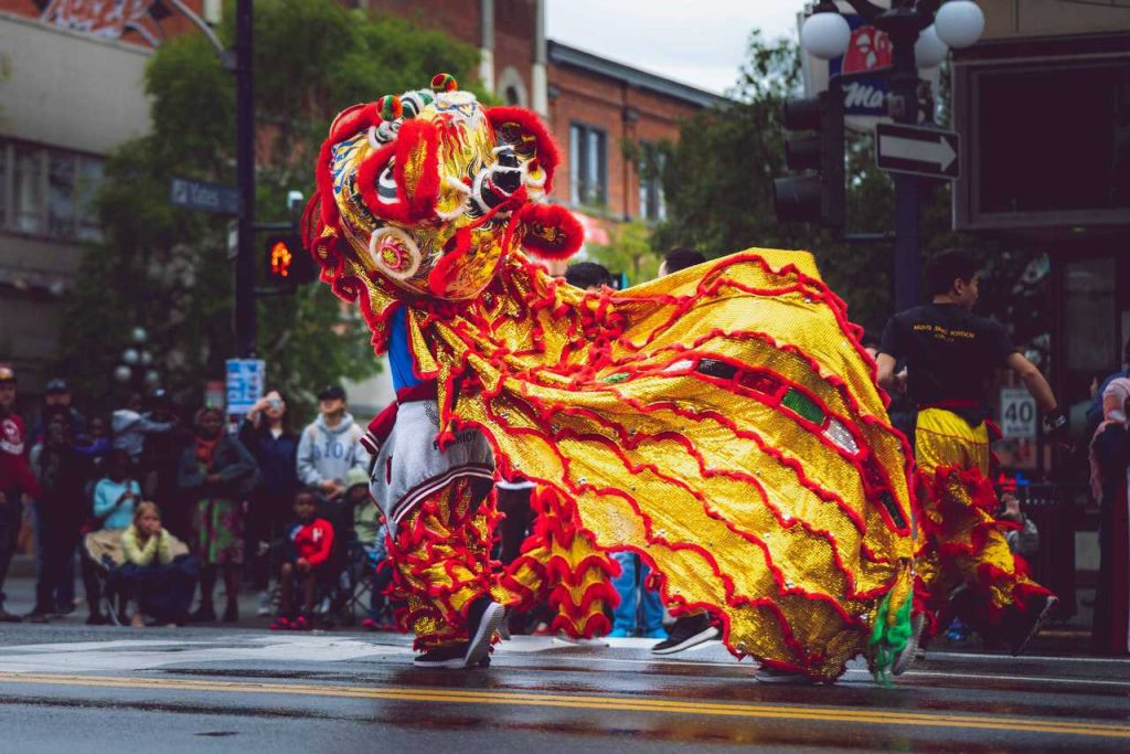 Foo Dog Costume in Chinese New Year | Breast Cancer Car Donations