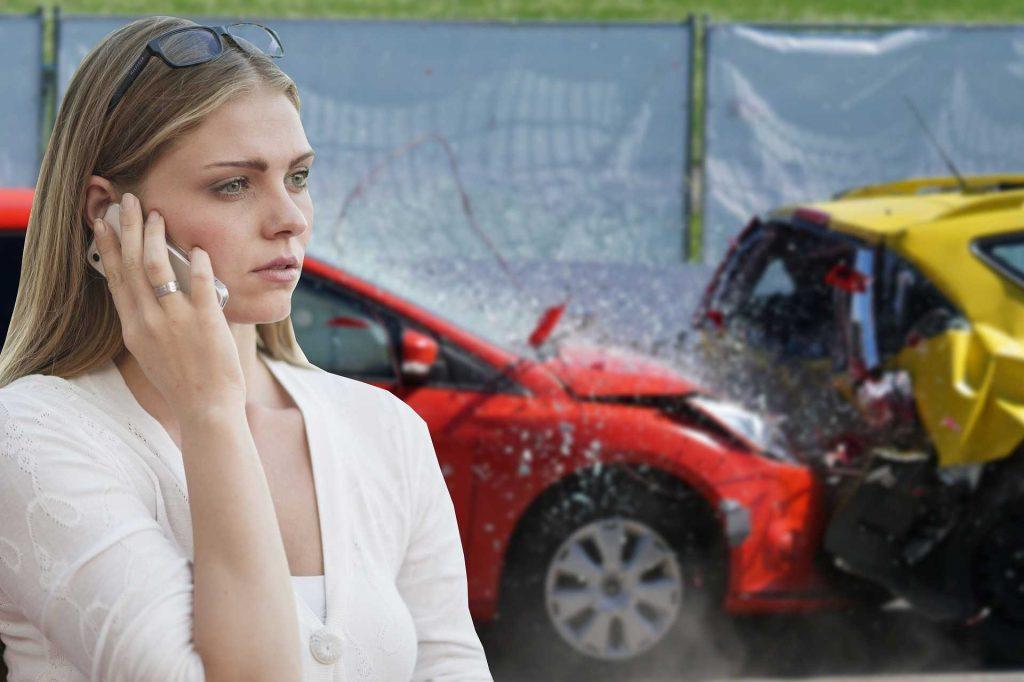 Woman Calling Car Insurance   Breast Cancer Car Donations